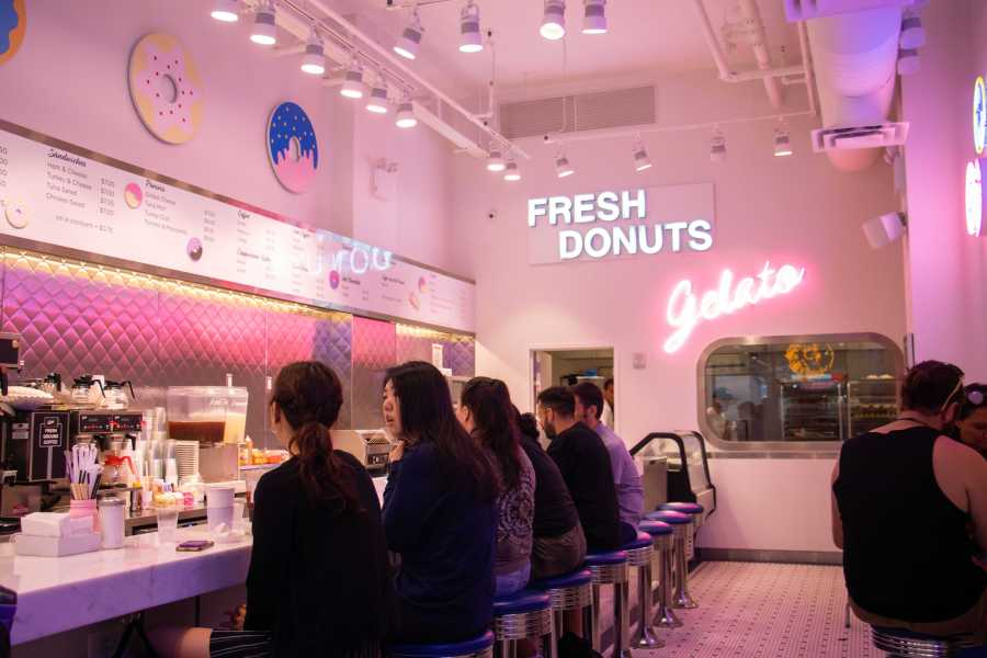 The Donut Pub, located on Broadway near the NYU Bookstore, features a variety of sweet treats and a retro dining style. (Staff photo by Marva Shi)