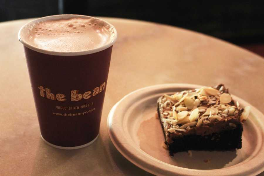 A hot chocolate and vegan almond brownie on a budget, with a 10% student discount from The Bean at 824 Broadway. (Photo by Laura Measher)