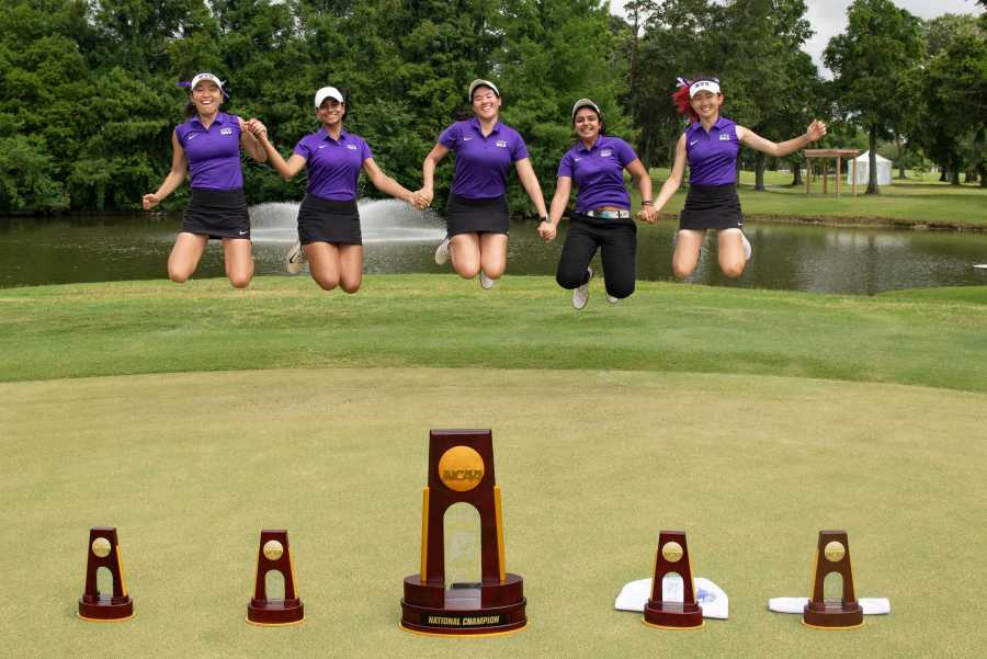 Members+of+the+women%27s+golf+team+celebrate+after+winning+the+first+national+title+in+program+history+in+May.+%28via+NYU+Sports+Information%29