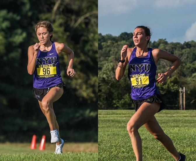 First-years Siena Moran (left) and Leah Haley (right) run for NYU's Women's Cross Country team. (Staff Photos by Sam Klein)