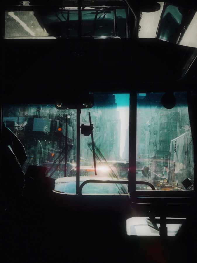 A dirty slice of life seen from the Route B NYU shuttle in downtown Manhattan.