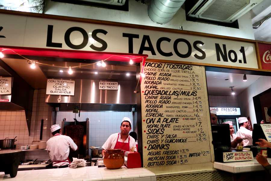 LOS TACOS No. 1 is a no-seating street style spot in Chelsea Market for tacos and other Mexican bites. (Staff Photo by Chelsea Li)