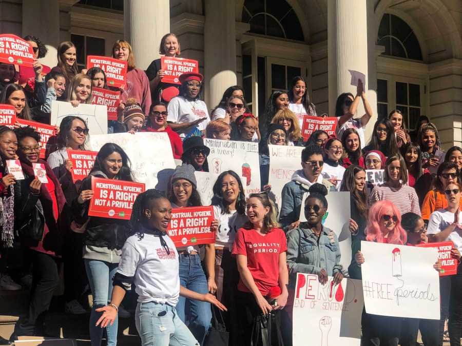 "NYC activists gathered to rally against the ""Tampon Tax."" Saturday Oct 19 was National Period Day. (Photo by Lisa Cochran)"