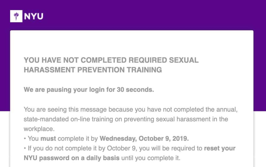 Students+are+required+to+complete+the+annual%2C+sexual+harassment+training+by+October+9%2C+2019.+%28Via+NYU%29