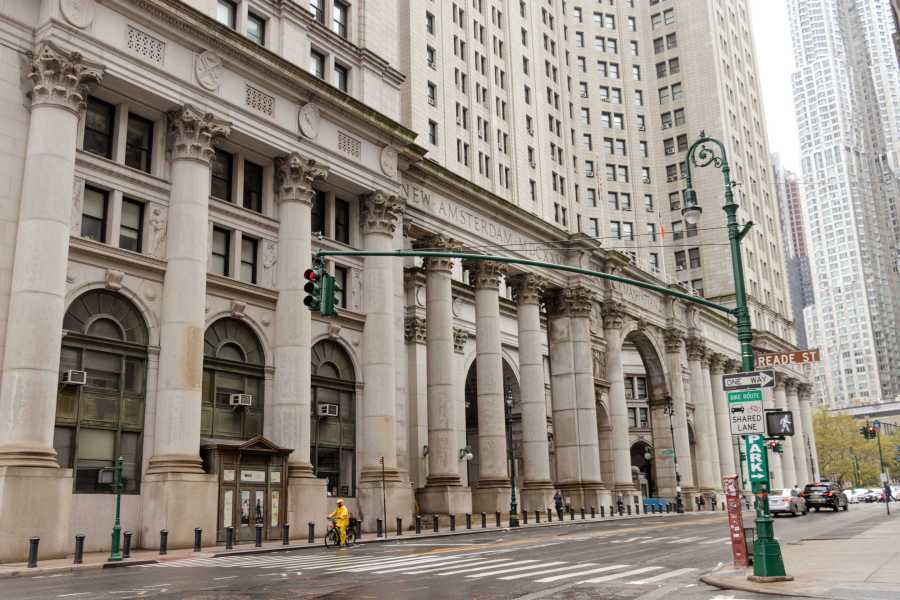 Pictured is the David N. Dinkins Municipal Building, which lies east of the City Hall Park and north of the Manhattan entrance to the Brooklyn Bridge. On Thursday, the City Council approved a proposal to close Riker's Island. (Staff Photo by Marva Shi)