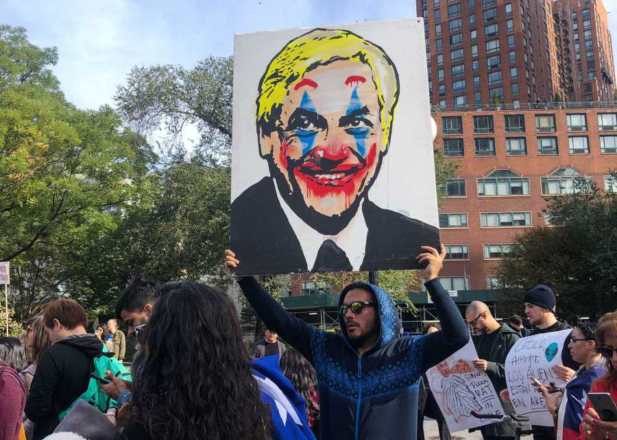 Chilean president, Sebastian Piñera, was painted as a clown by protestors for income inequality in Chile. (Photo by Lisa Cochran)