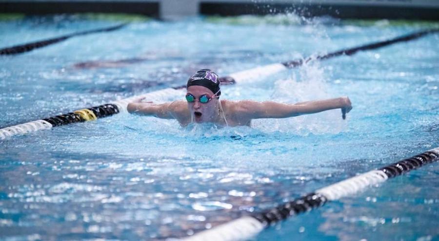 Stern Senior Honore Collins swims for NYU Women's Swimming & Diving team. (via NYU Athletics)