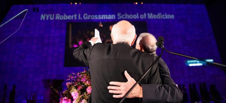 Dr. Robert I. Grossman and Ken Langone after the renaming announcement. NYU Langone Health is renaming its medical school NYU Robert I. Grossman School of Medicine. (Photo by Jordan Rathkopf. Via NYU Langone)