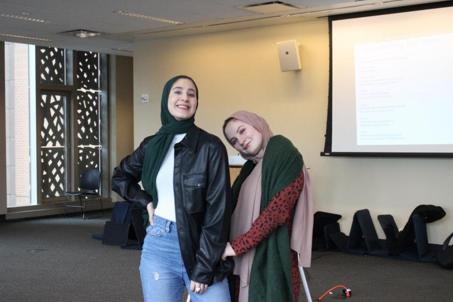 As commuter students, Sarah Elfarra (left) and Melanie Mohsen (right), spend their time between classes on the fourth floor of G-CASL to be close to the mosque prayer space. (Photo by Ali Zimmerman)