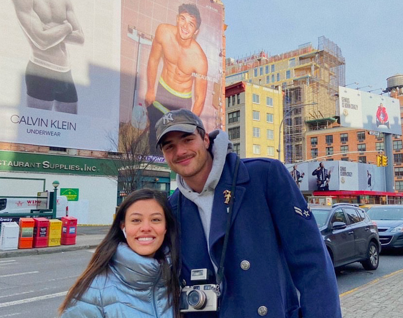 Sophomore Valentina Parra-Rodriguez with model Jacob Elordi. Students frequently run into celebrities in NYC. (Photo by Zendaya Coleman)