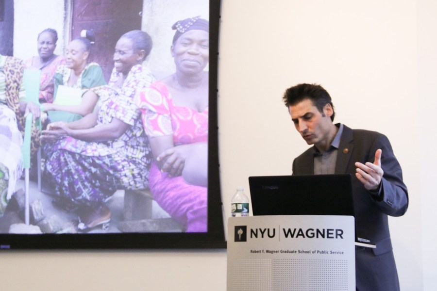 The conflict series continue with a discussion on migration and human trafficking at NYU Wagner. Tom Syring led the discussion with insights and his own experience surround the issue. (Staff photo by Alex Tran)
