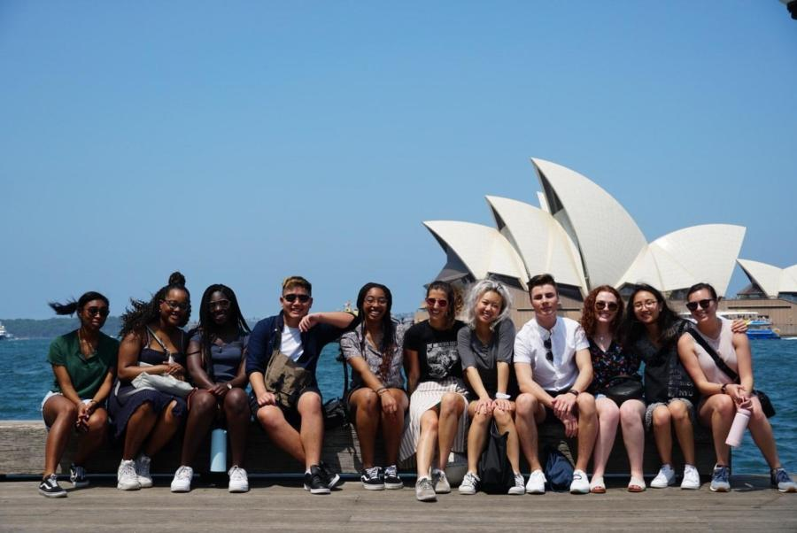 Current NYU Sydney students pose in front of the Sydney Opera House. NYU Sydney students were told to return home by March 22 in an email sent out Monday. (Photo by Mark Eels)