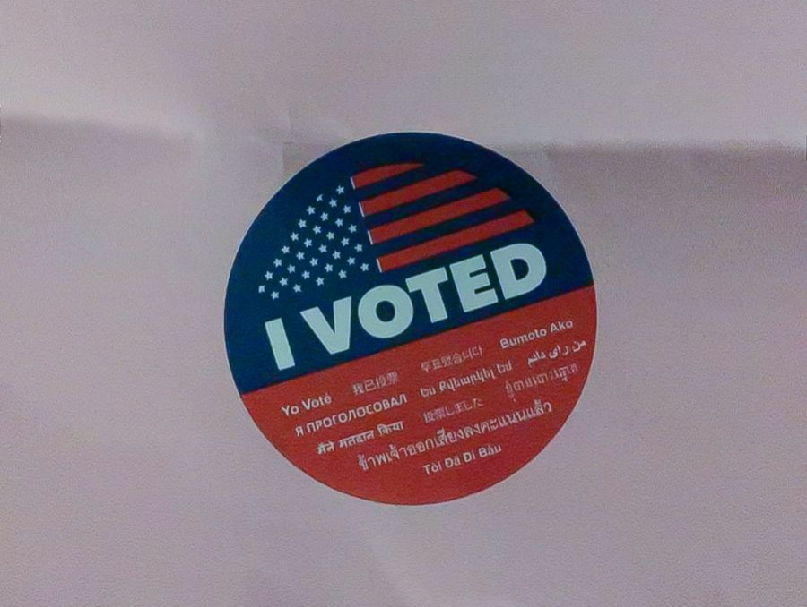 """Variations of """"I Voted"""" stickers are distributed at voting centers during election days.  An Election Day resolution was struck down in the University Senate. (Photo by Katherine Chan)"""