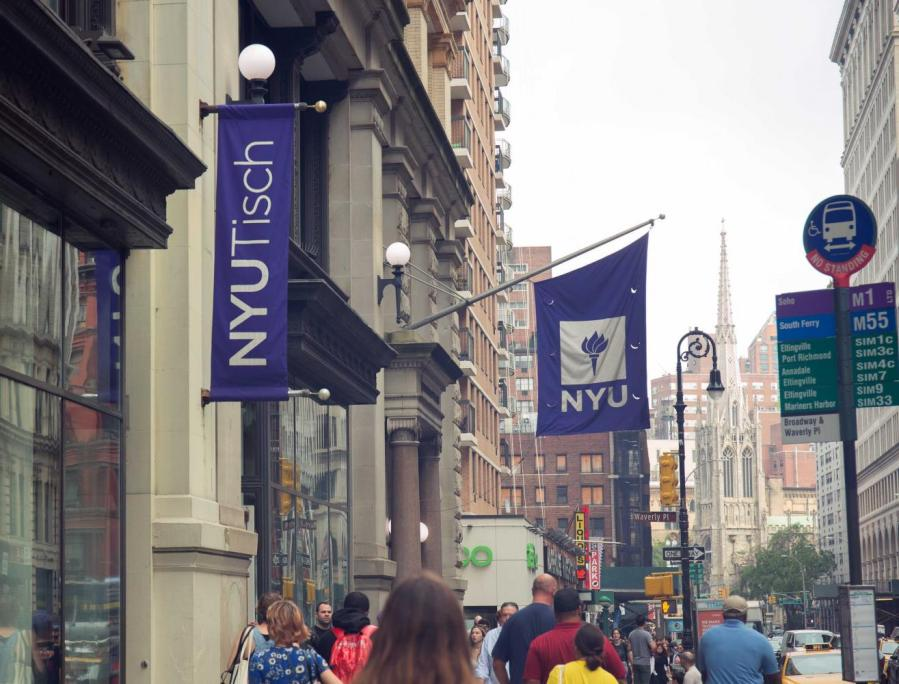 The NYU Tisch building stands at the corner of Broadway and Waverly Place. WSN spoke to three Tisch writing professors to find out how much they know about the potential fall reopening. (Photo by Alina Patrick)