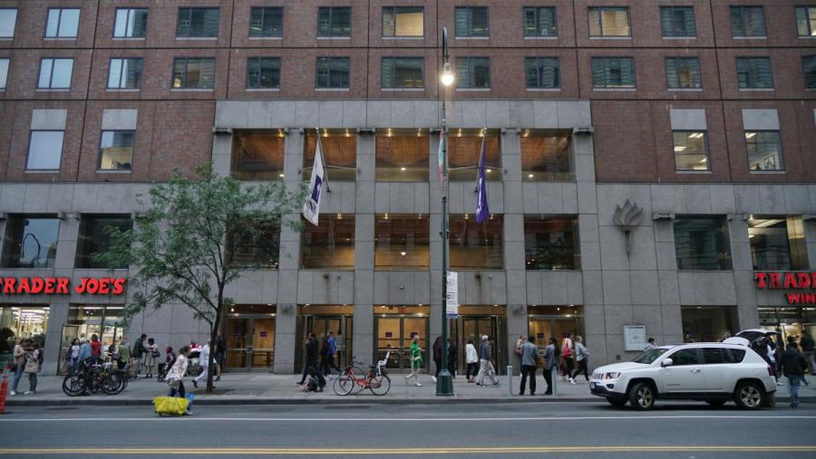 Palladium Residence Hall is located at 140 E. 14th Street. It is currently housing NYU students unable or choosing not to leave their dorms along with Gramercy Green and UHall. (Photo by Max Lerner)