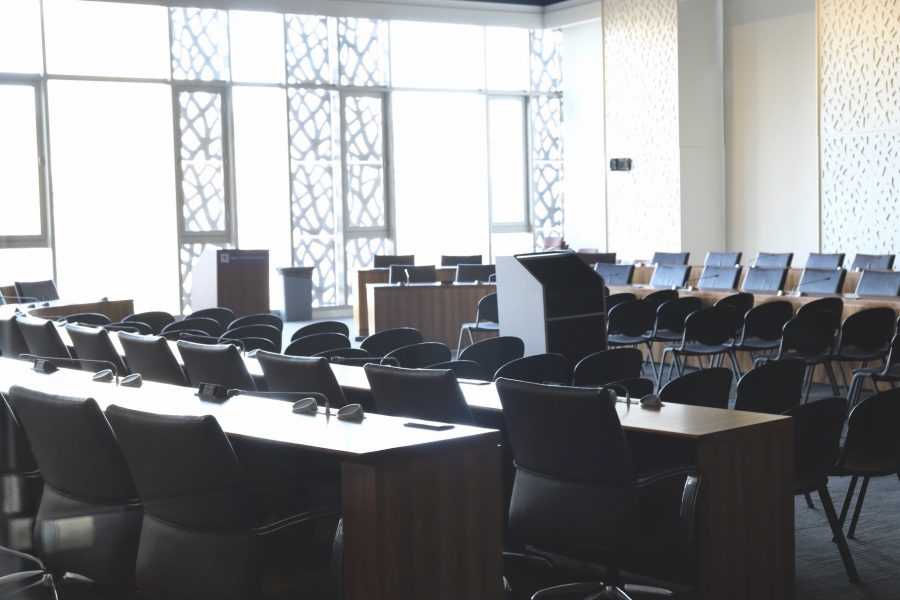 The Colloquium Room at the Kimmel Center is where the Student Government Assembly meets. SGA wrote a letter last Friday condemning the new Department of Education CARES policy. Secretary of Education Betsy Devos has decided to bar DACA recipients from receiving emergency aid during this time.(Photo by Jorene He)
