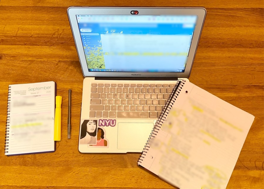 A student tries to follow their pre-pandemic schedule while attending school remotely. Madison San Miguel discusses some of the ways she brings NYC back home. (Photo by Madison San Miguel)