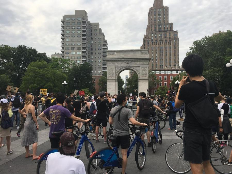 During Black Lives Matter movement in NYC, numerous protesters gathered in Washington Square Park. That's just one of the multiple events that students staying in the city this summer were able to witness. (Photo by Addison Aloian)