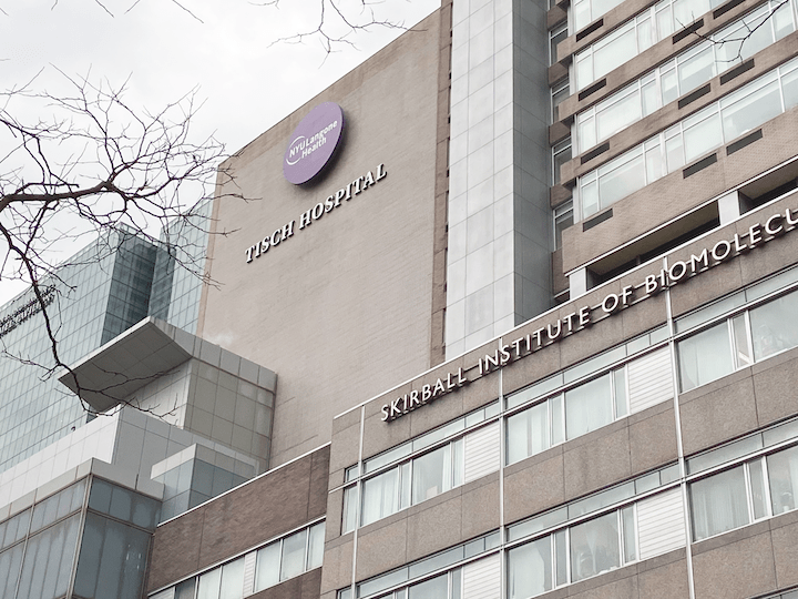 NYU Langone Medical Center is located at 550 1st Ave. The hospital has offered COVID-19 vaccinations to at least 7,000 members of the NYU community. (Photo by Leo Sheingate)
