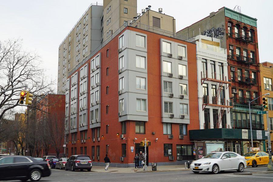 Second Street Residence Hall is located at 1 E 2nd St. This is one of NYU's isolation dorms for COVID-positive students.  (Photo by Gavin Paul Koepke)