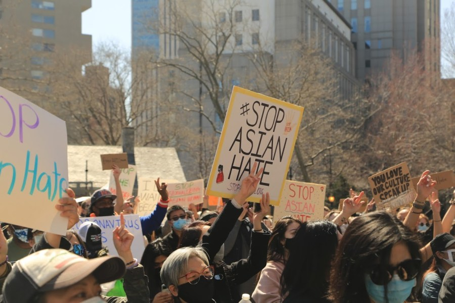 People gather at rallies throughout New York City to demand action against a spike in hate crimes against Asian Americans. (Photo by Suhail Gharaibeh)