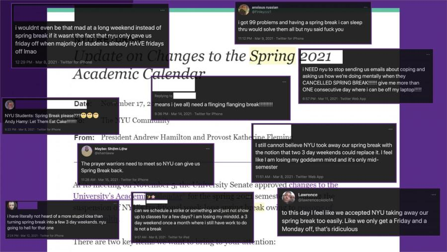 NYU administration announced the cancellation of the 2021 spring break to mitigate the spread of COVID-19. Many students are expressing their concerns about the lack of a substantial break given during the spring semester. (Staff Illustration by Manasa Gudavalli and Alexandra Chan)