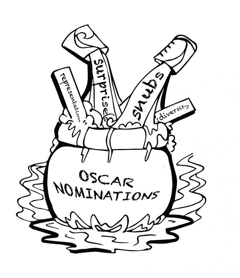 This year, the Oscars have seen an increase in both international names and female nominees for best picture and best director categories. This is a chance for the Academy to show that the need for equity and inclusion might become a staple within the entertainment industry. (Illustration by Sophia Di Iorio)