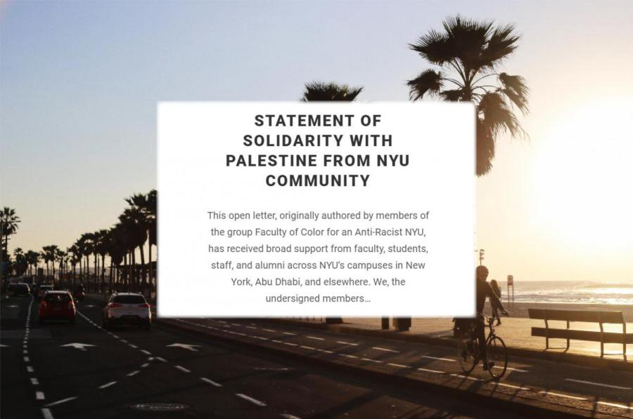"""More than 400 members of the NYU community signed an open letter, titled """"Statement of Solidarity with Palestine from NYU Community,"""" pledging non-cooperation with NYU's study away campus in Tel Aviv. This letter has been signed by individuals and groups from across NYU's schools and campuses. (Photo by Julia McNeill and Staff Illustration by Manasa Gudavalli)"""
