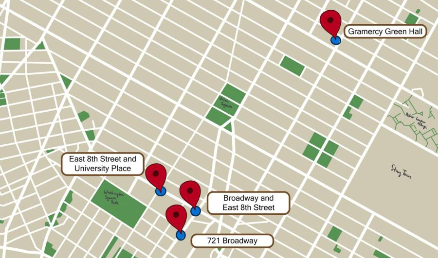 The four recent groping incidents reported by NYU students occurred on or near campus. The incident that occurred on the sidewalk near 721 Broadway in Manhattan is the fourth such incident in less than two weeks, all of which appear to be perpetrated by the same individual. (Staff Illustration by Manasa Gudavalli)
