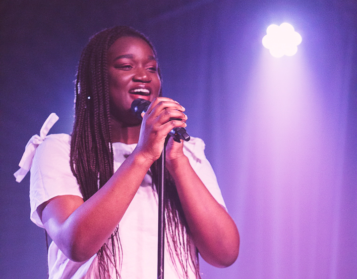 Singer-songwriter Angela Daudu performing at Talent Nation in 2019. (Photo by Owen Mertens Photography)