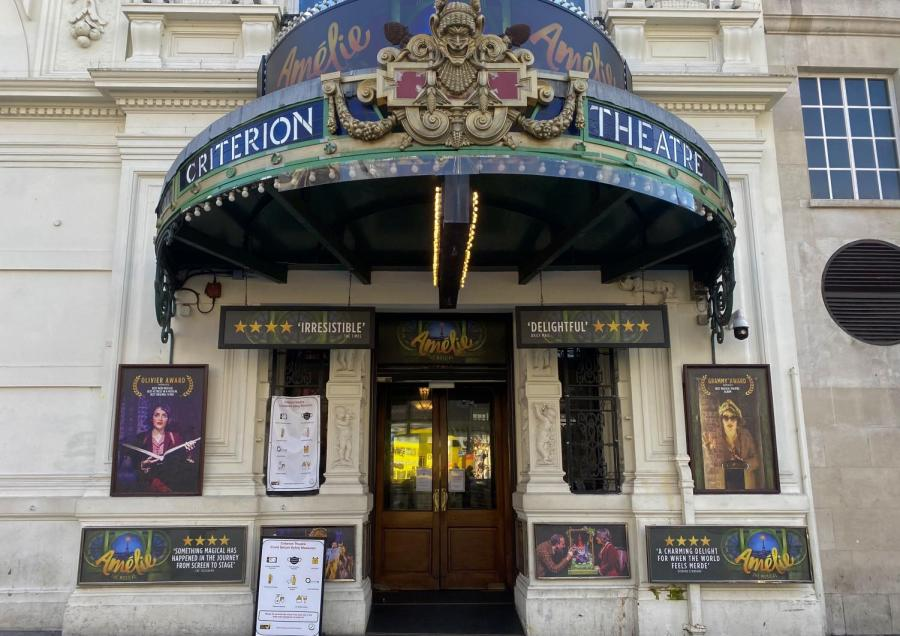 """""""Amelie"""" the musical adapted from the 2001 film recently reopened at the Criterion Theater in the West End after a hiatus due to the COVID-19 pandemic. For some, the musical falls short of capturing the essence of the beloved film. (Photo by Saige Gipson)"""