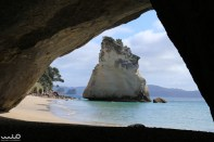 Cathedral Cove. This site was use in a scene from one of the Chronicle of Narnia movies. The four Pevensie children are in the London Underground train station when it turns into this cove tunnel and they re-enter Narnia: https://youtu.be/39xnFVV4IpQ