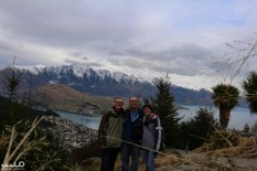 Forgot to bring the tripod up to Bob's Peak, so we found a suitable rock to get one of our first groupie pictures in Queenstown. (In our winter gear because, of course, being the southern hemisphere, New Zealand was just coming out of winter at this time of year.)