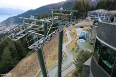 Fun perspective of the luge track (which we road once) and the gondola gears and ropes