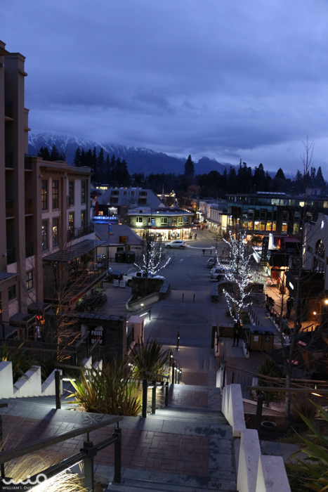 Downtown Queenstown at night. The whole town smelled like a campfire.