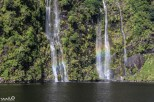 Rainbows were around every corner, including by this double waterfall--now we just need a double rainbow!