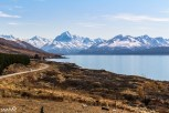 The view of Mt Cook/Aoraki, the tallest mountain in New Zealand, from Peter's Lookout on Lake Pukaki, not too far after the entrance of Mt Cook National Park.