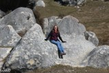 Jessica found her limestone boulder throne at Castle Hill, NZ.