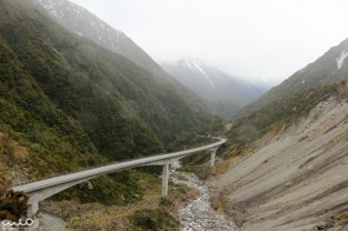 The Otira Viaduct in Arthur's Pass has a 16% grade and curves through the last portion of the pass before Jacksons, New Zealand.