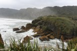 Lots of mist and spray on the Paparoa coast in Puanakaiki