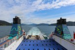 Our Interislander ferry smoothly glides through the Queen Charlotte Sounds, away from the South Island. We were heading out of the sound toward the Cook Strait and on to Wellington.