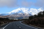 Mt Ruapehu (with Chateau Tongariro in the foreground) as seen from State Highway 48. Mt Ruapehu is the largest of the 3 main volcanoes in Tongarior National Park and is also a popular skiing mountain.