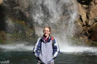 Another bright sunshiny day comes with a bright sunshiny sister, at Taranaki Falls