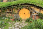 1 of 44 hobbit holes. All of them are just facades. The inside shots were done in a studio in Wellington. Most go about a meter back for effect of some depth, though, and have stuff inside in the windows.