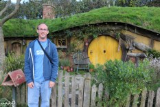 Philip by a hobbit door