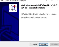 MKVToolNix installatie klaar