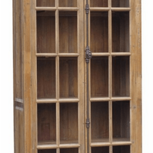 BOOK CASE WITH 2 FULL LENGTH DOORS OLD PINE