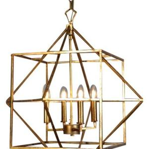 Cube hanging pendant lamp -gold