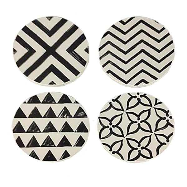 PLQ978 BLACK OUT RESIN COASTERS - SET OF 4