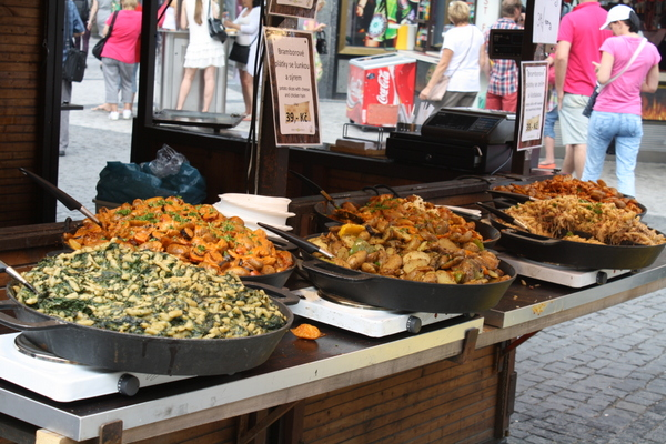 Prague food stalls-  Wencelaus Square
